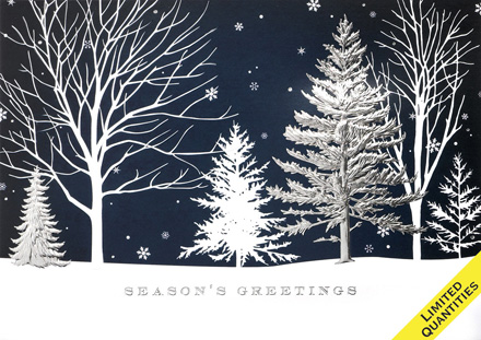 Winter Blue Treeline Holiday Cards